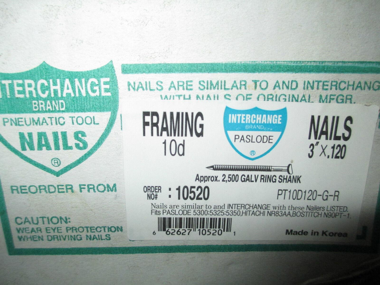 3 X 120 10d Galvanize Ring Shank Framing Nails Hitachi Paslode ...