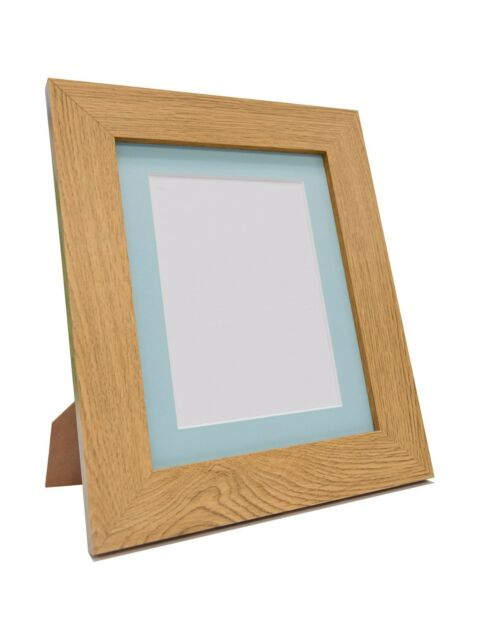 Metro Oak Picture Photo Frames With Blue Or Pink Acid Mounts