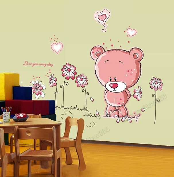 Pink Teddy Bear Flowers Wall Stickers Mural Art Paper Child Girl ...