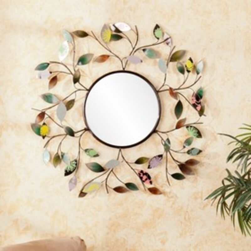 Southern Enterprises Gretchen Decorative Metallic Leaf Wall Mirror ...