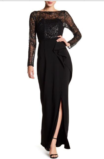 Carmen Marc Valvo Black Sequin Lace Bodice Gown Size 10 | eBay