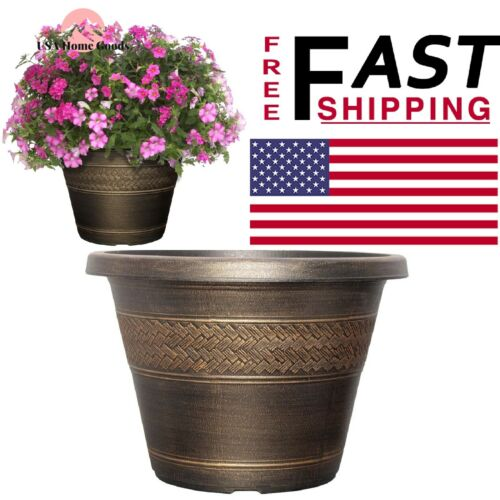 "Plastic Rattan Flower Planter 17.2/"" Round Hand Painted finish Indoor Outdoor"