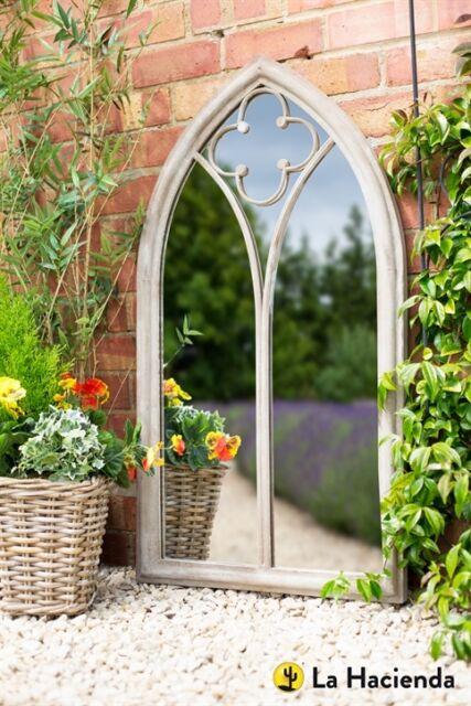 Beautiful 55424 La Hacienda Church Window Grey Stone Effect Metal Outdoor Garden  Mirror