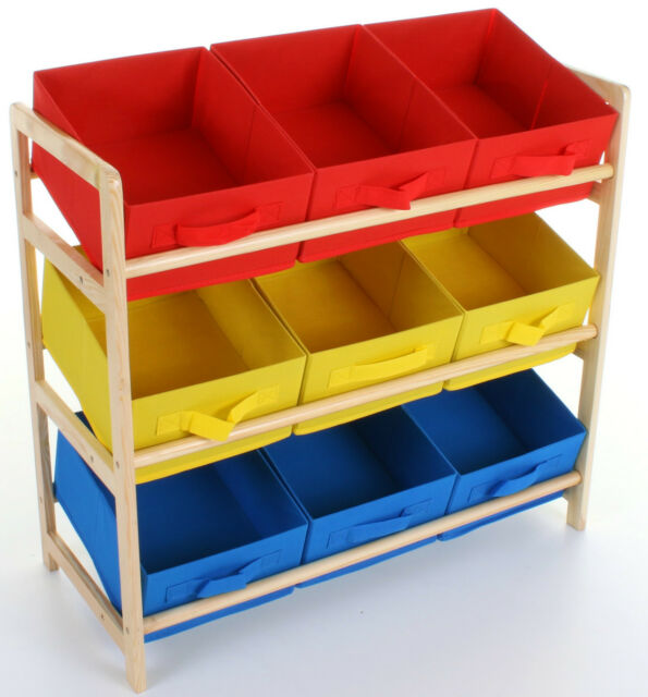 Kids Childrens 3 Tier Storage Shelf Unit Kids Bedroom Nursery 9 Boxes  Drawers