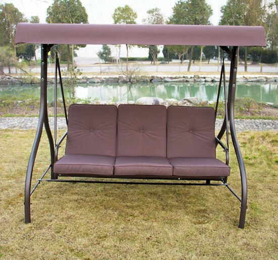 outdoor 3 person canopy swing glider hammock patio furniture converting bed ebay. Black Bedroom Furniture Sets. Home Design Ideas