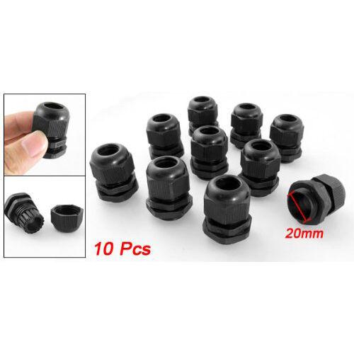 10 Pcs Black Plastic Waterproof Cable Glands Connectors M20 x 1.5 BTSZUK