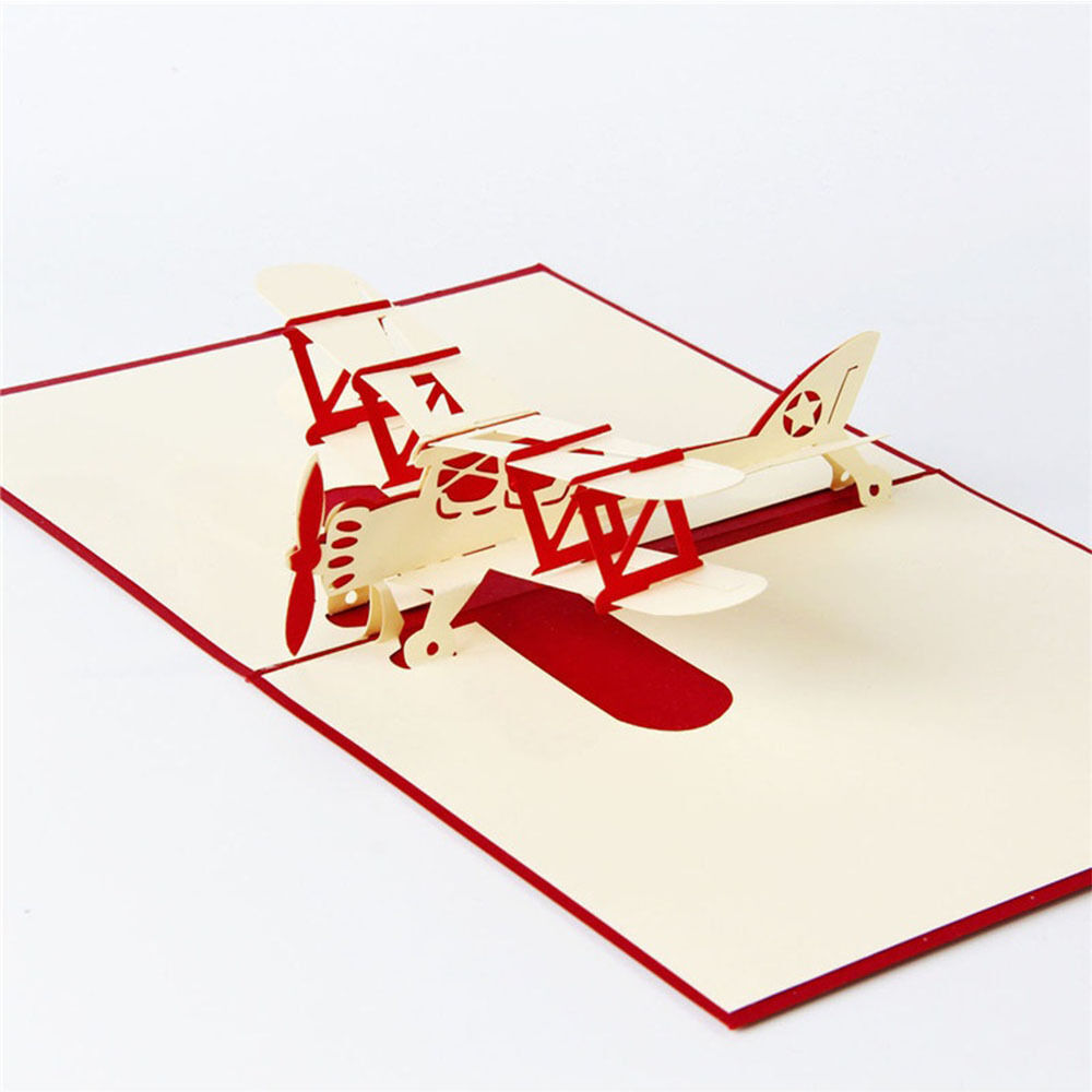 Paper Airplane Model Wishes Gift Festival Greeting Card Pop up ...