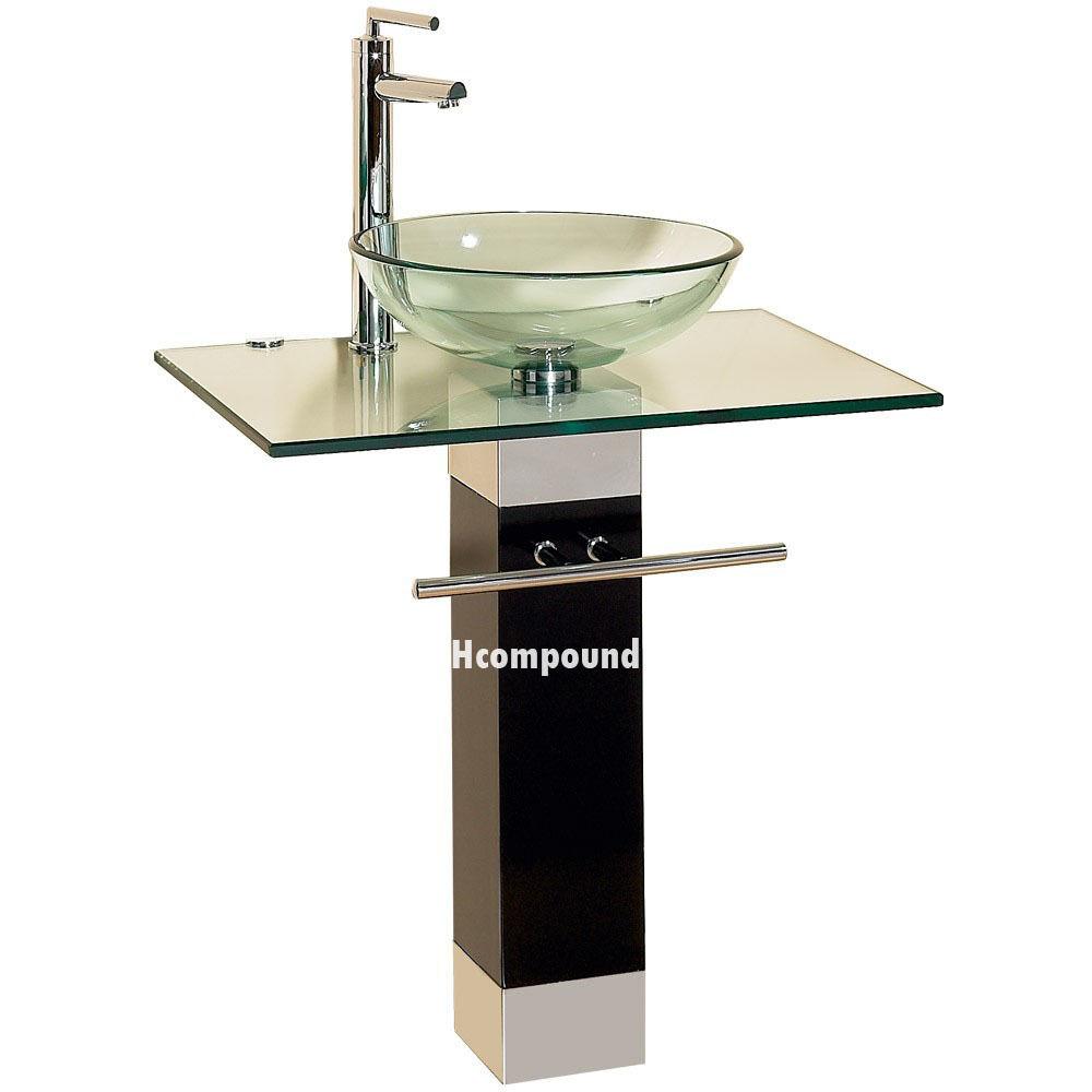 bathroom vanities vessel sinks sets. Modern Bathroom Vanities Pedestal Glass Bowl Vessel Sink Combo W Faucet Set 9 Sinks Sets