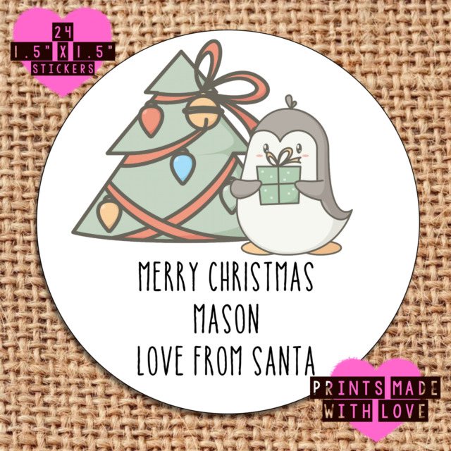 Personalised christmas stickers party gift wrapping penguin tpp x24 labels