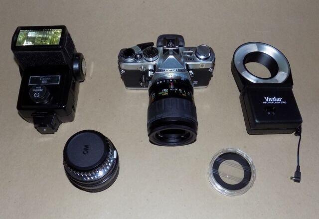 Olympus OM-1n 35mm SLR Camera w/  lenses, Flashes, Accessories