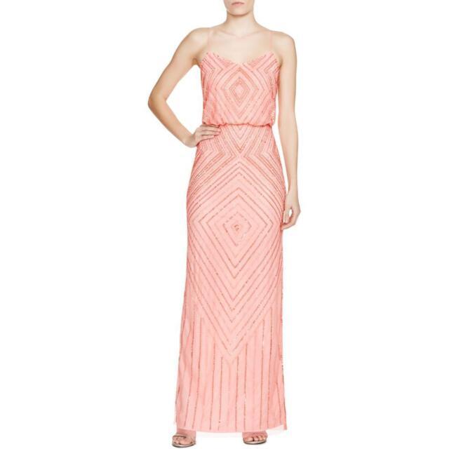 Aidan Mattox 6045 Womens Pink Mesh Prom Blouson Semi Formal Dress