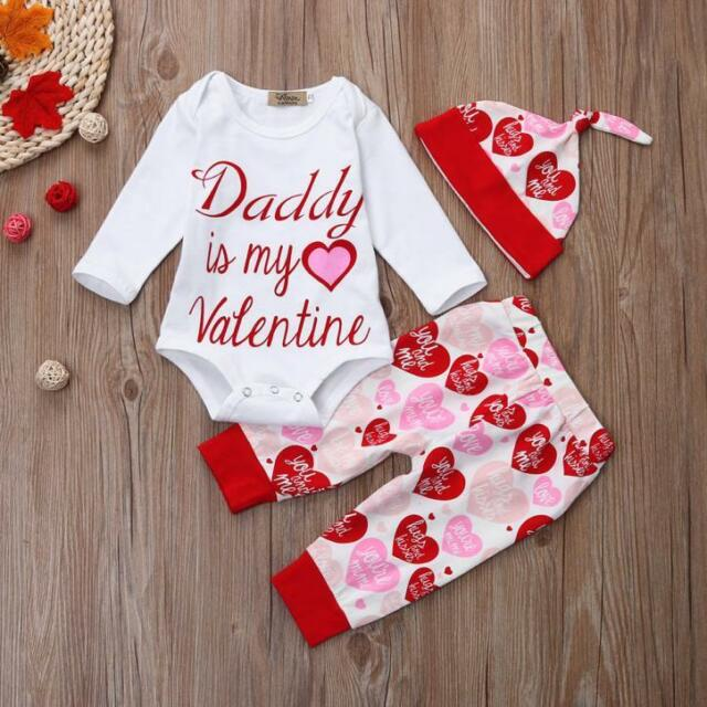 Newborn Infant Baby Girl Letter Romper Tops+Pants+Hat Valentineu0027s Day Outfit  Set