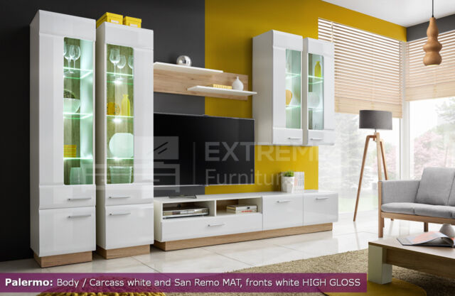 Modern Led Display Living Room Stand Cupboard TV Set Furniture Cabinet Wall  Unit Part 52