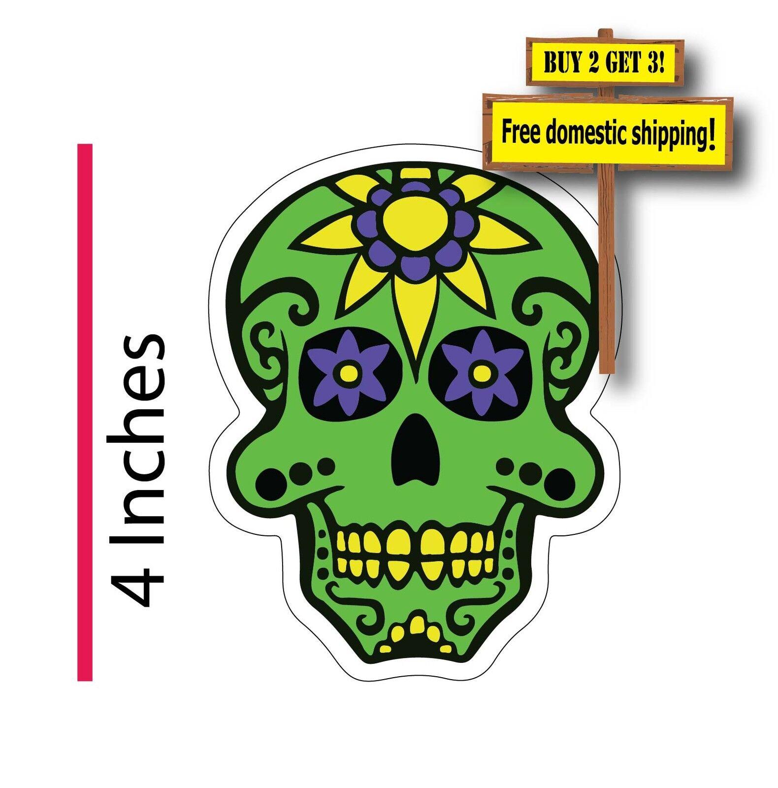 dia de los muertos day of the dead mexican sugar skull green decal