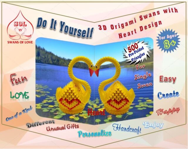 DIY 3D Origami Swan Kits With Heart Designs
