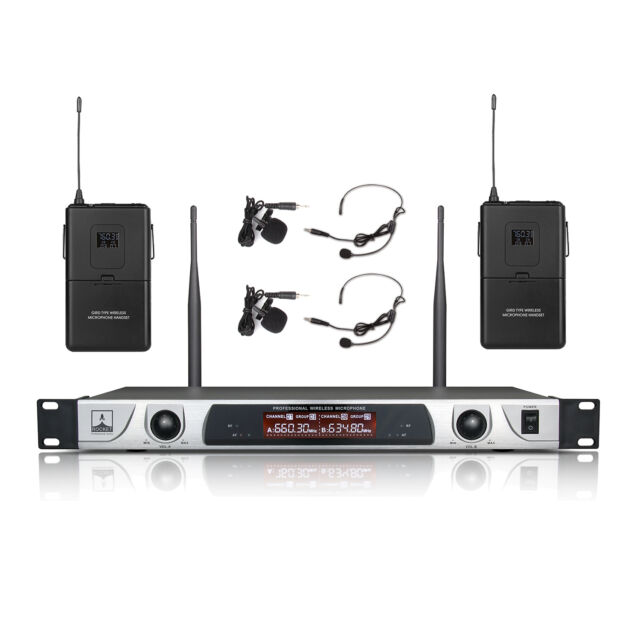 Wireless Microphone System  2 Lavalier 2 Headset Mic Dual Channel Stage