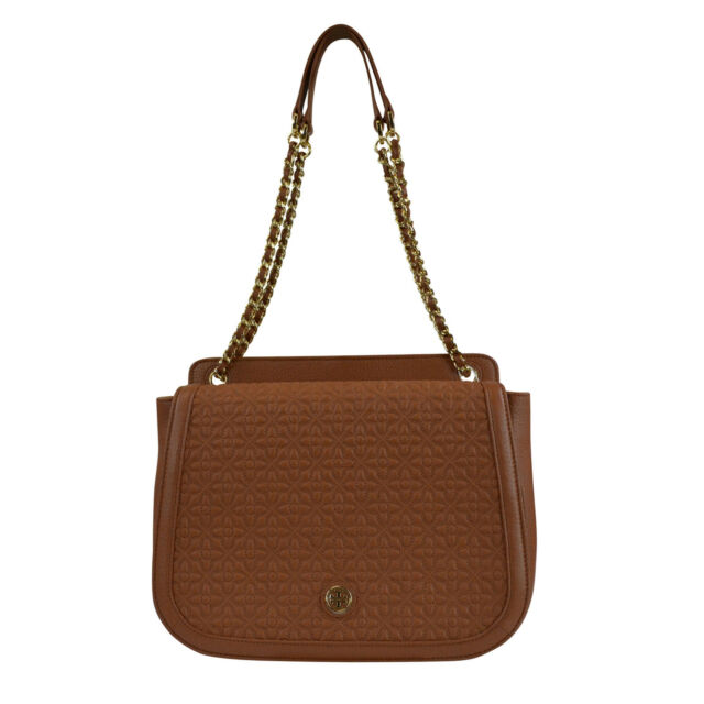 Tory Burch Luggage Brown Leather Bryant Quilted Shoulder Bag ... : quilted shoulder bags - Adamdwight.com