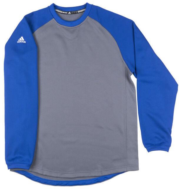 Adidas adiDominance BP Fleece Blue Gray Climawarm Crewneck Baseball Mens NEW