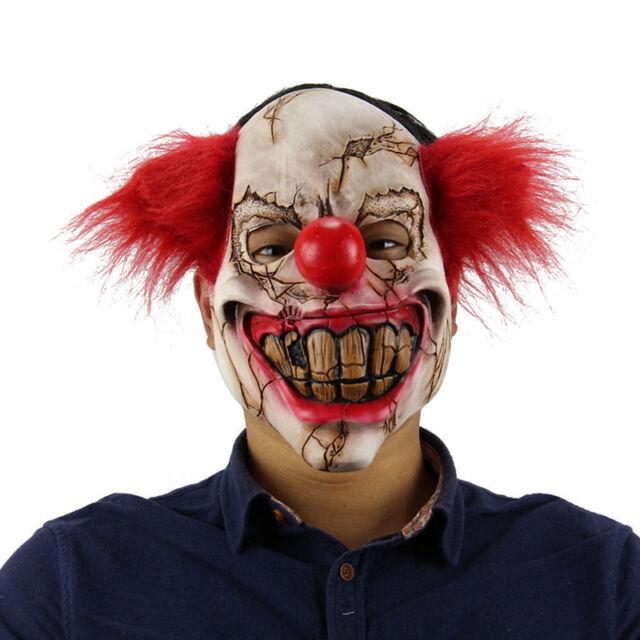 Full Face Scary Clown Mask Latex Halloween Costume Evil Creepy ...