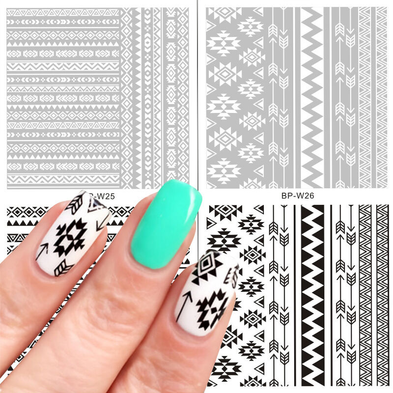 2 Sheets Born Pretty Water Decal Ethnic Style French Nail Art ...