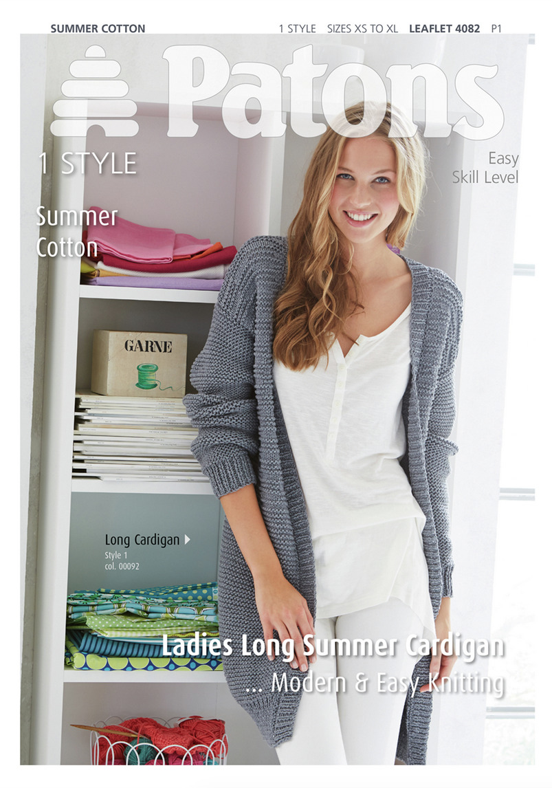 Patons Ladies Long Easy Knit Cardigan Summer Cotton Knitting Pattern ...