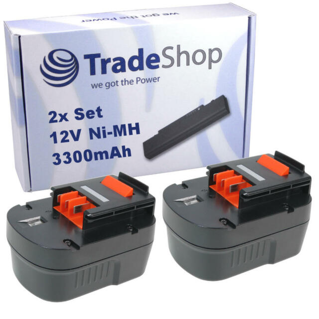 2x Trade-Shop AKKU 12V 3300mAh Ni-CD ersetzt Black&Decker A12 A1712 FSB120 HPB12