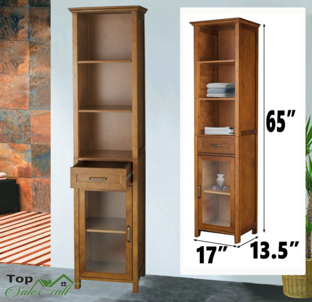 Bathroom Linen Tower Tall Storage Cabinet Towel Organizer Wood Shelves Furniture