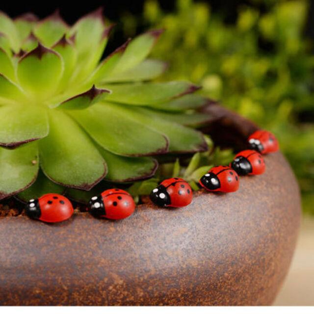 Delightful 50Pcs Mini Red Beetle Wood Ladybug Ornament For Fairy Doll House Garden  Decor