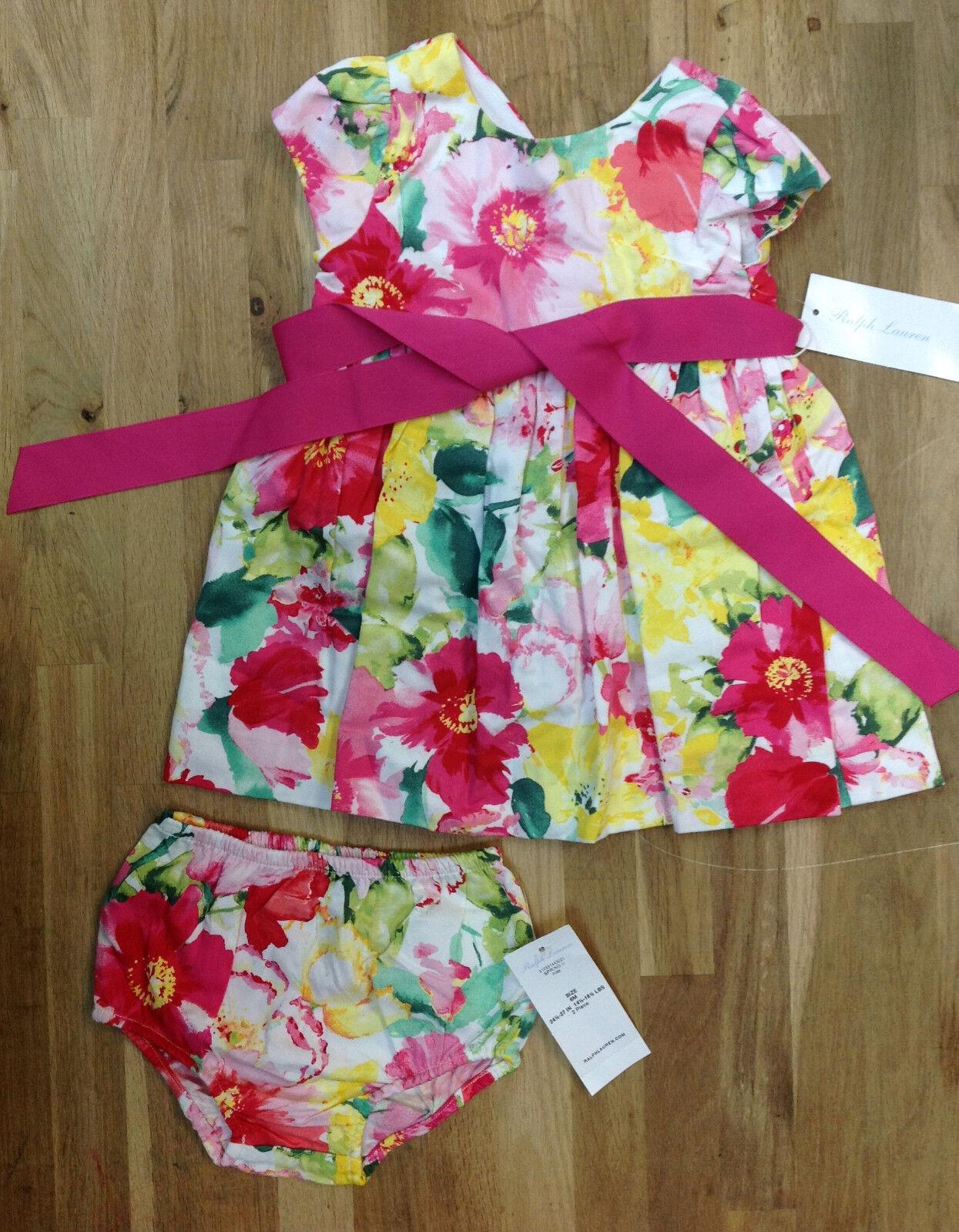 Ralph Lauren Baby Girls Floral Cotton Dress & Bloomer Set 6 Months