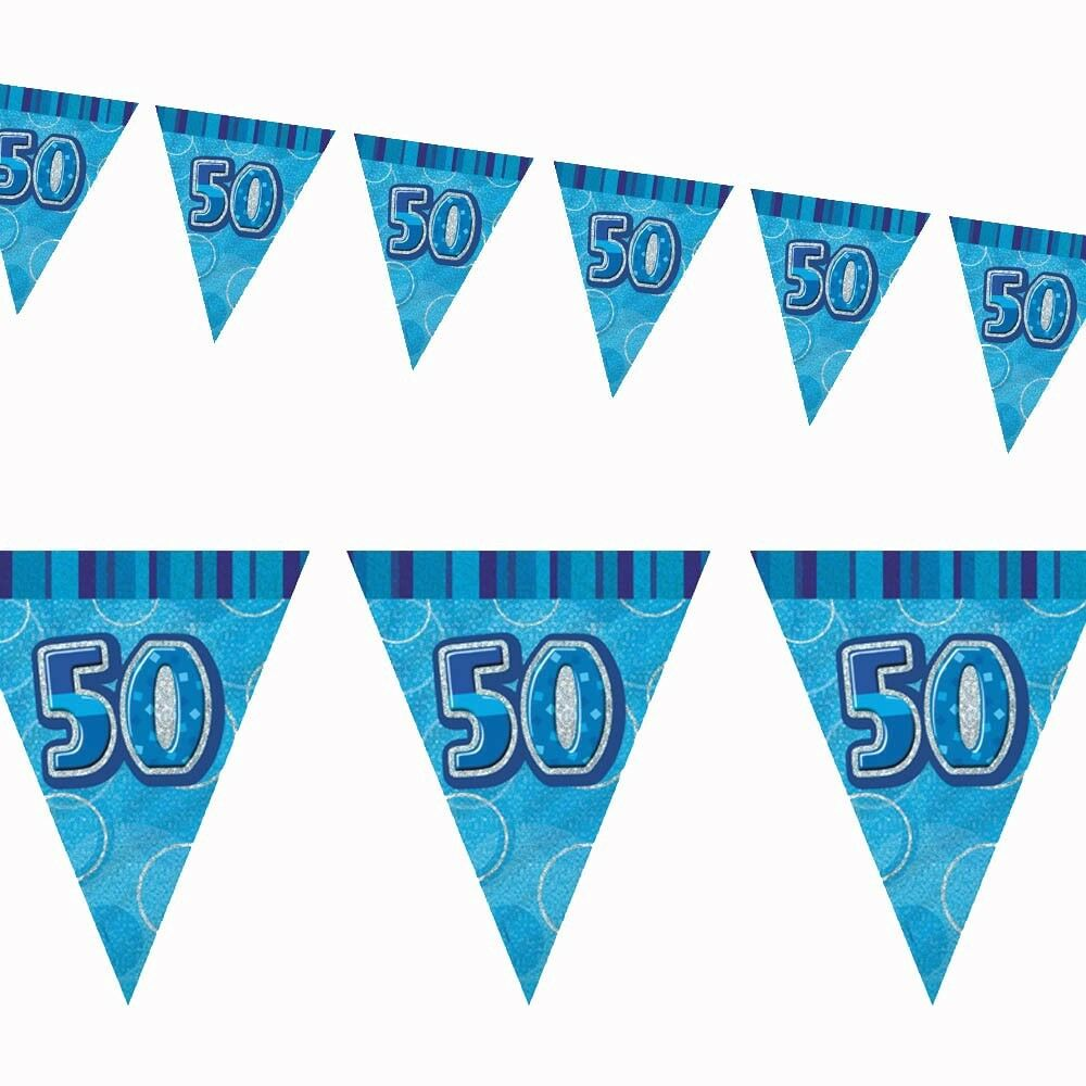 12ft Blue Sparkle Happy 50th Birthday Pennant Flag Banner Party