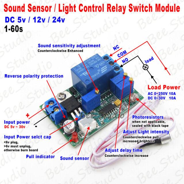 DC 5v 12v 24v Sound Sensor Light Control Relay Switch Time Delay