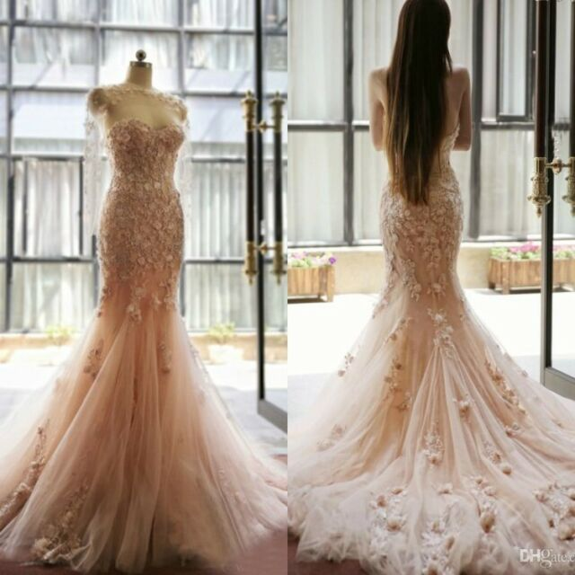 Fairy Tale Blush Mermaid Wedding Dresses Applique Flowers Sweetheart ...