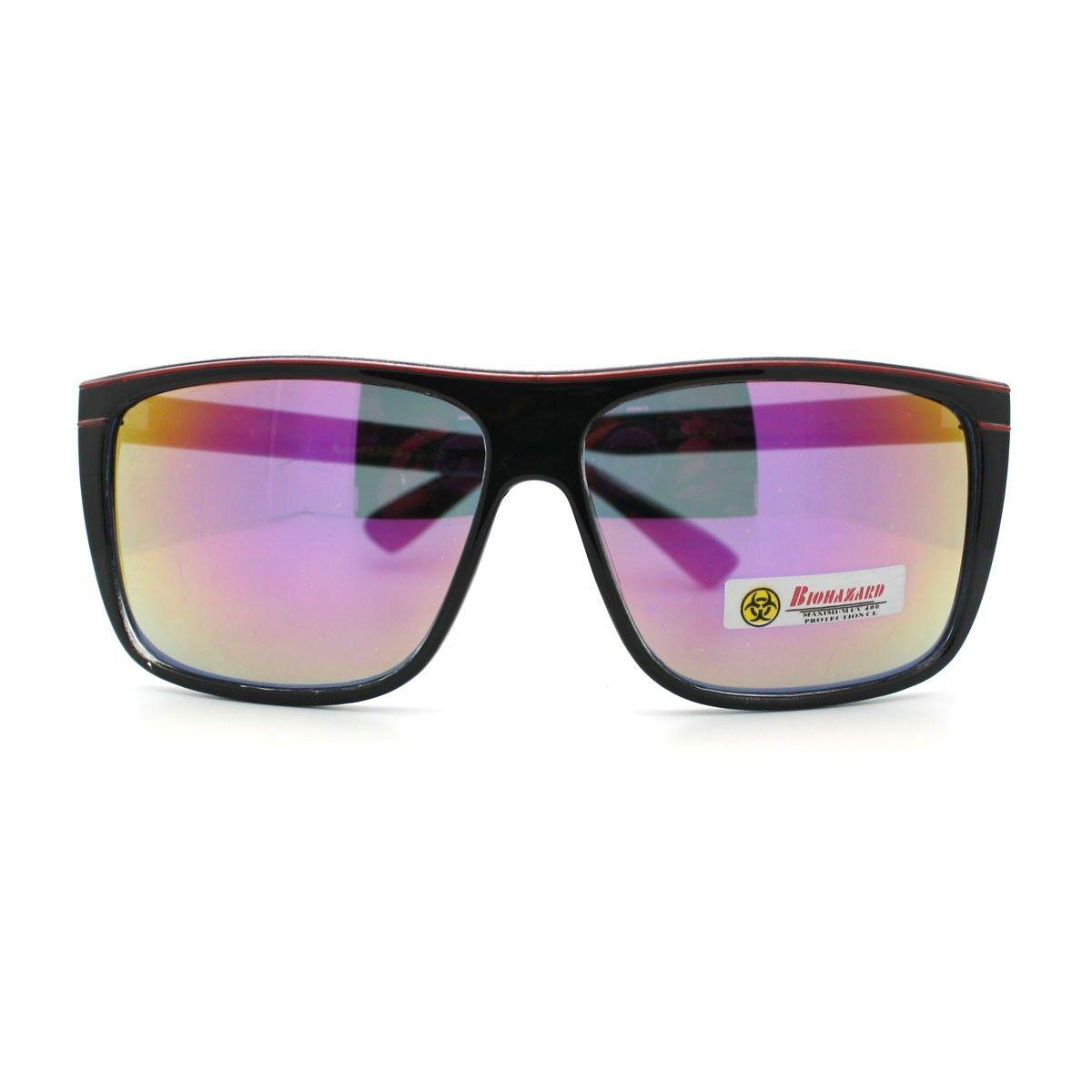 325a6fe35a3 Biohazard Sunglasses Mens Square Sporty Skater Fashion Frame Black Purple