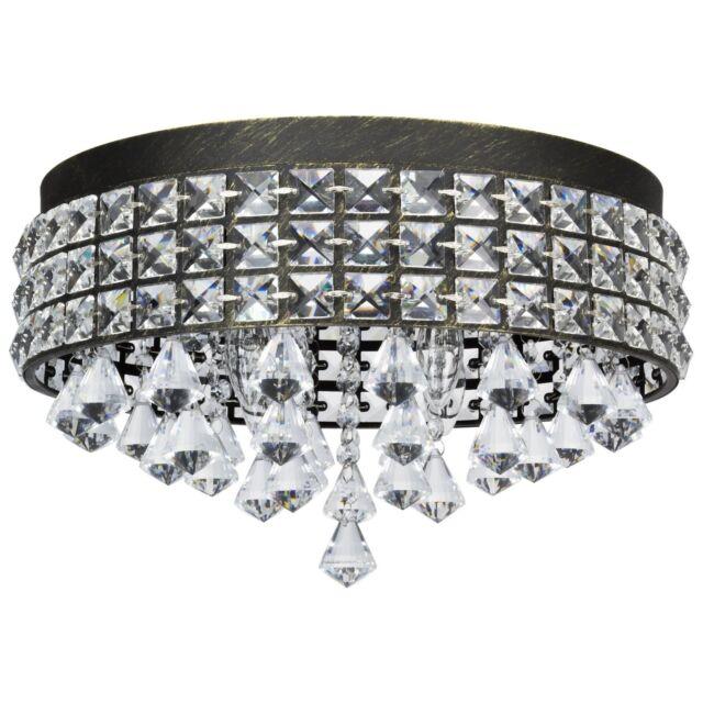 Revel gemma 15 4 light flush mount crystal ceiling light brushed revel gemma 15 contemporary flush mount with crystals brushed black finish aloadofball Gallery