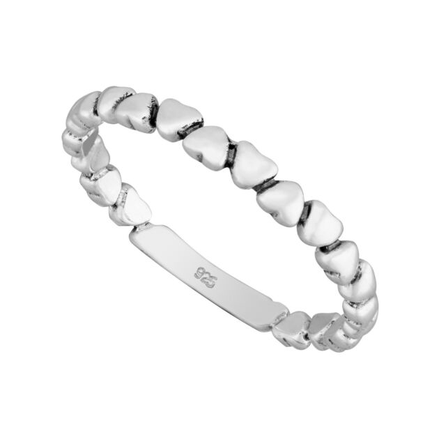 925 Sterling Silver Heart Stacking Ring QsBpuX6