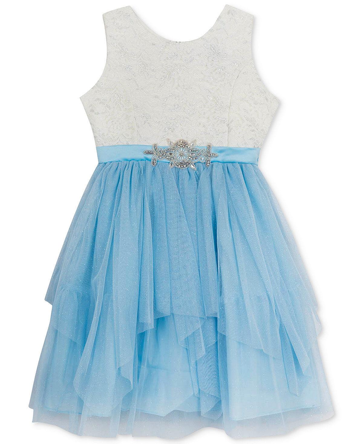 RARE Editions Embellished Lace Dress Big Girls Blue Size 14 Style ...