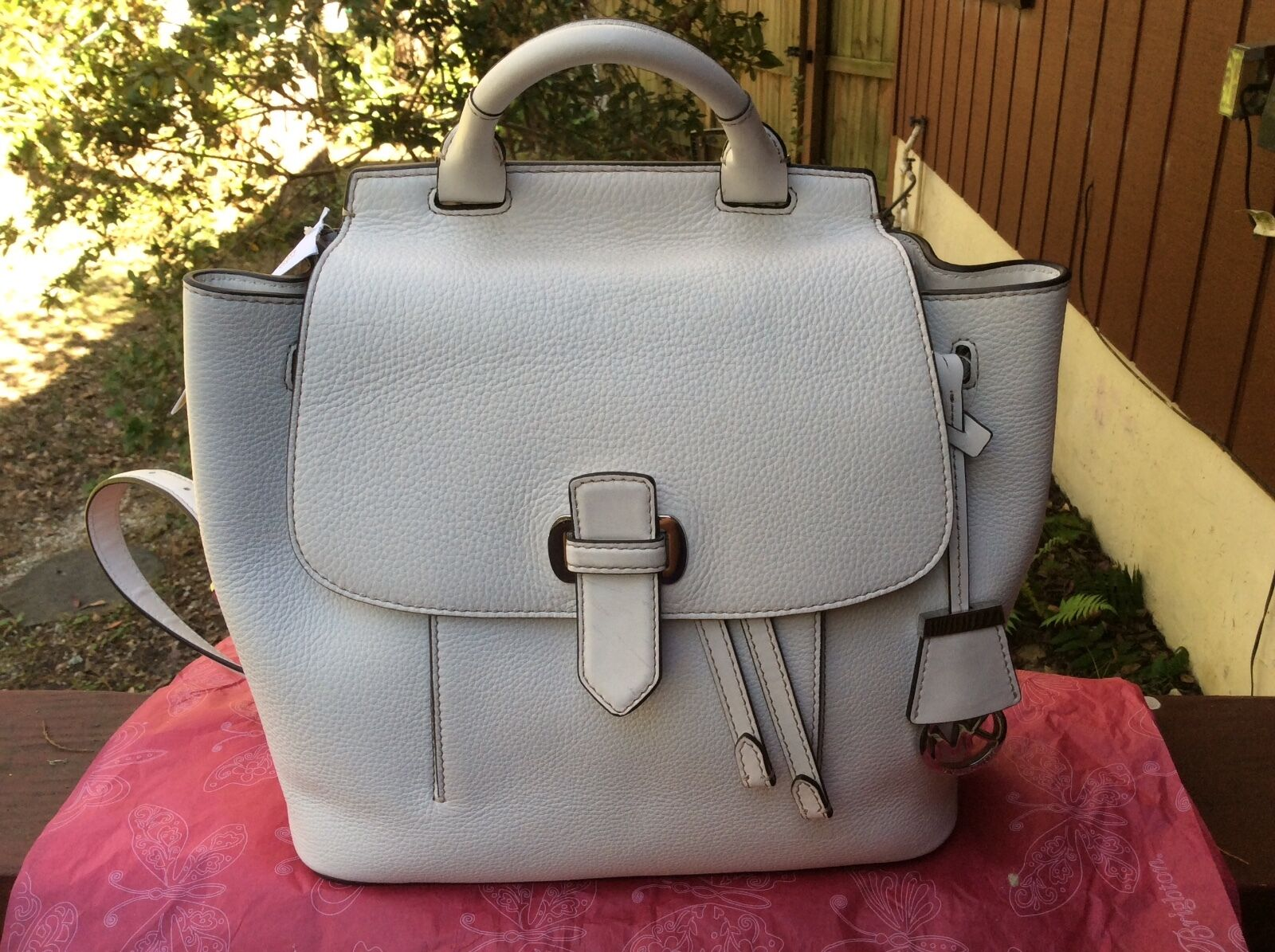 78a33b2d7f2c ... Picture 1 of 12 ... Michael Kors New Romy Medium Desert SuedeGold  SuedeLeather Backpack Marosia Mart ...