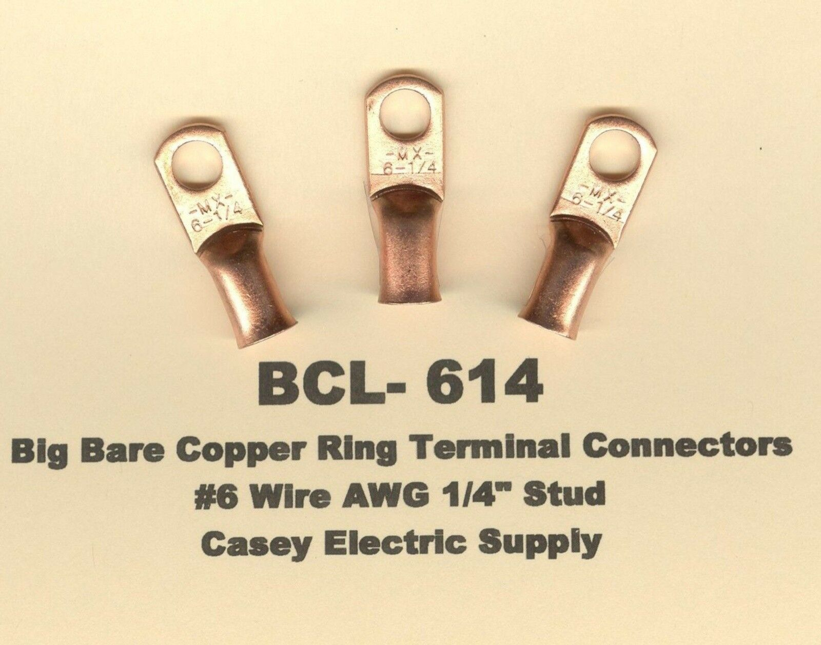 10 Big Bare Battery Copper Ring Lug Terminal Connectors 6 Wire 1 4 125 Ft 8 3 Black Solid Simpull Nmb W G Picture Of 2