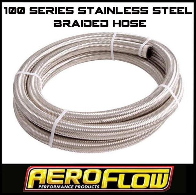 AEROFLOW -4 AN 100 SERIES STAINLESS STEEL BRAIDED HOSE X 2 METER. FUEL OIL WATER