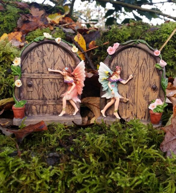 2 sparkle fairy door secret garden magical statue ornament for Original fairy door