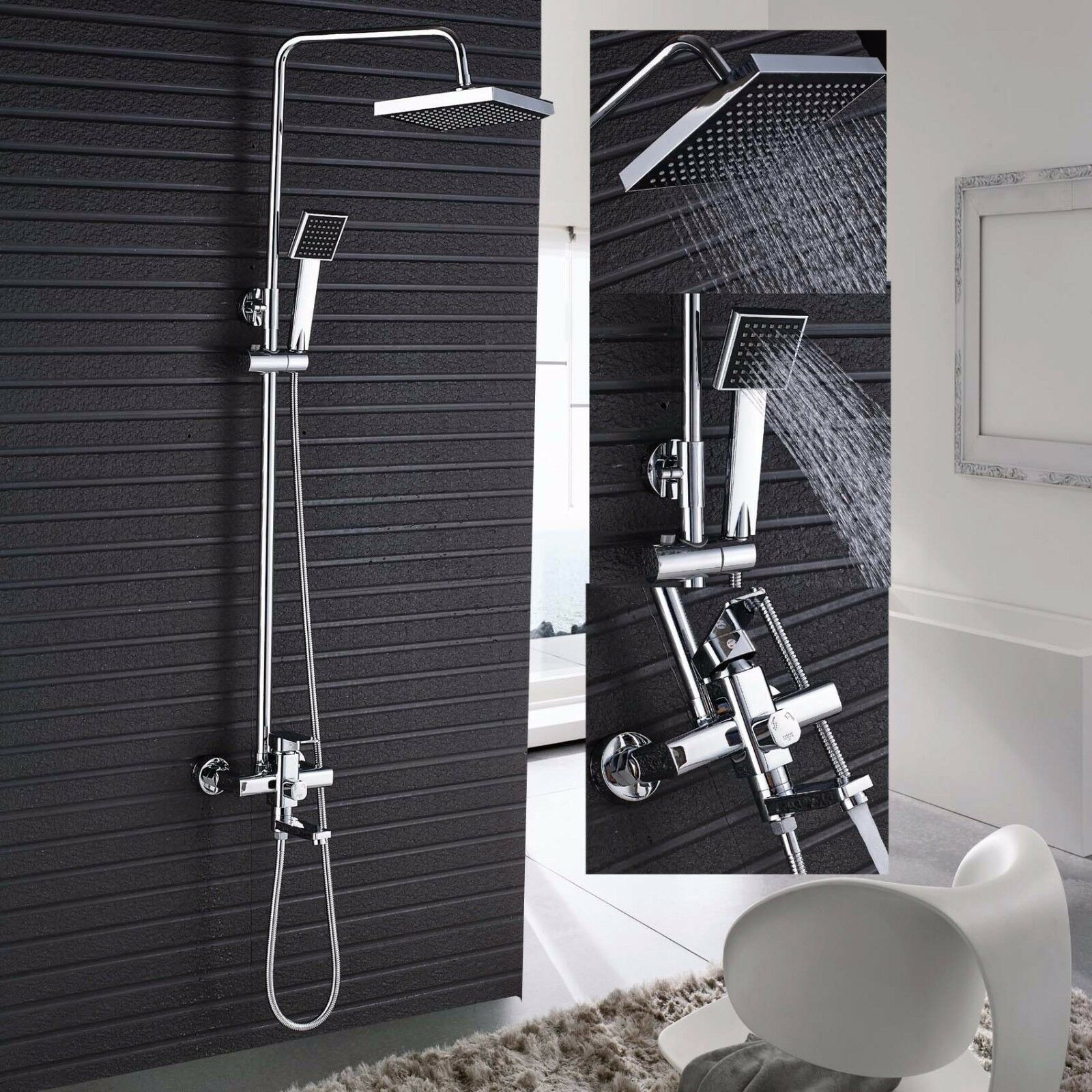 Chrome Wall Mount Shower Faucet Single Handle Tub Spout Mixer Tap ...