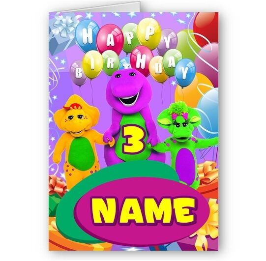 Personalised barney and friends name age a5 happy birthday card personalised barney and friends name age a5 happy birthday card with envelope ebay bookmarktalkfo Gallery