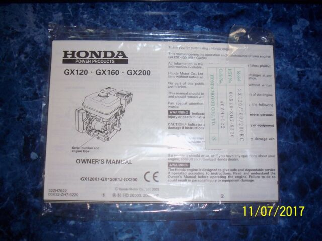 honda engine owners manual for gx120 gx160 gx200 ebay rh ebay com honda gx160 workshop manual pdf honda gx160 repair manual