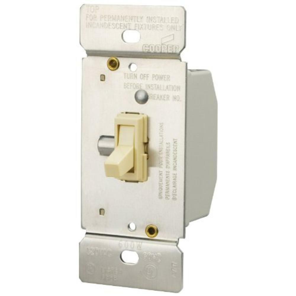 Cooper Wiring Devices 600w Lighted Toggle Dimmer Almond- Ti306-a-k ...