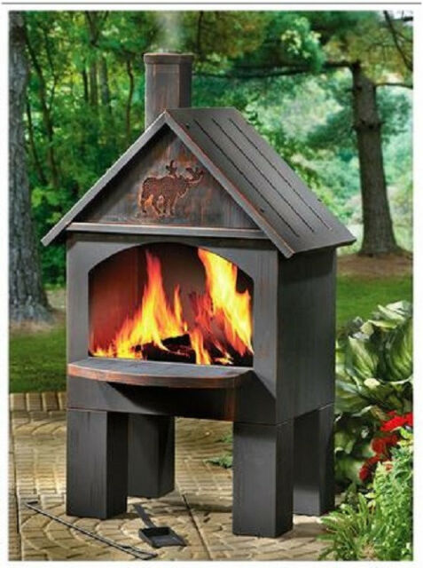 Perfect Outdoor Chiminea Fireplace BBQ Stove Grill Cooking Wood Fire Oven Pizza Hot  Dog