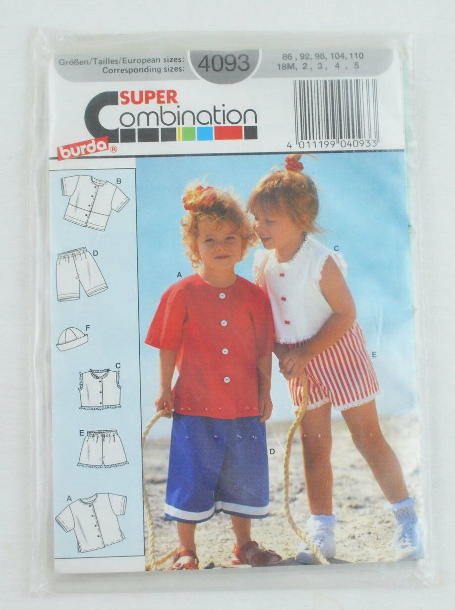 Burda 4093 kids sewing pattern clothes for summer playing size picture 1 of 2 jeuxipadfo Gallery