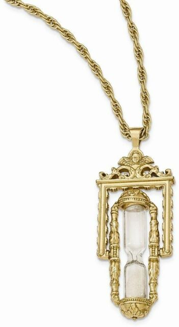 1928 jewelry gold tone glass sand workable hourglass pendant 1928 jewelry gold tone glass sand workable hourglass pendant necklace mozeypictures Image collections