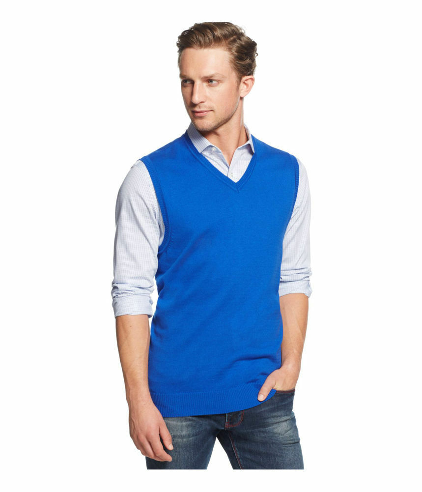 Club Room 5557 Mens Blue Ribbed Trim V-neck Sweater Vest XL BHFO ...
