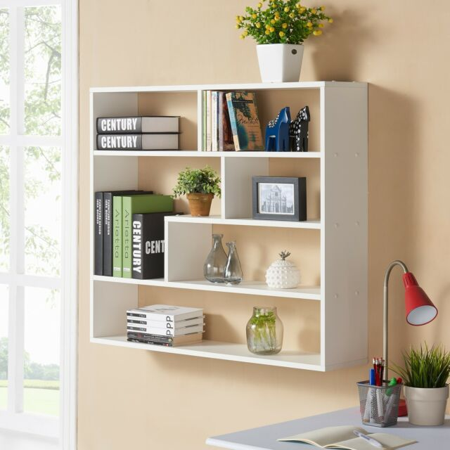 bookshelf display unit wall mounted storage shelves white bookcase home decor ebay. Black Bedroom Furniture Sets. Home Design Ideas
