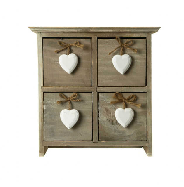 SHABBY WOODEN CHIC Four Drawer Rustic Storage Box Chest Heart